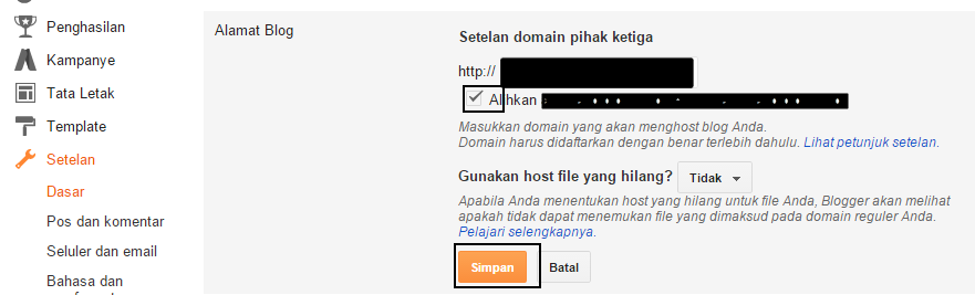 Setting domain di Blog