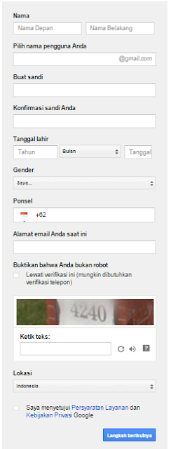 Mengisi data pribadi akun gmail