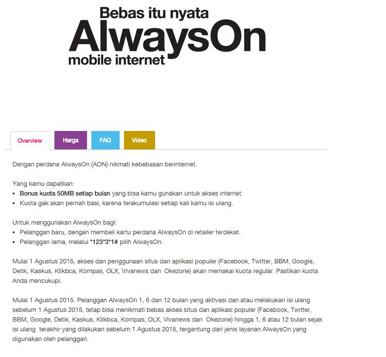 Tri AON Sudah tidak gratis 11 Situs Popular