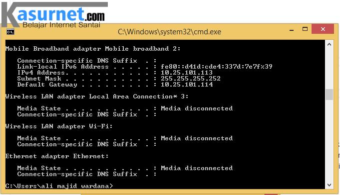Mengecek IP melalui CMD