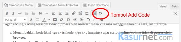 Cara Memasukan Koding dalam postingan blog wordpress 1