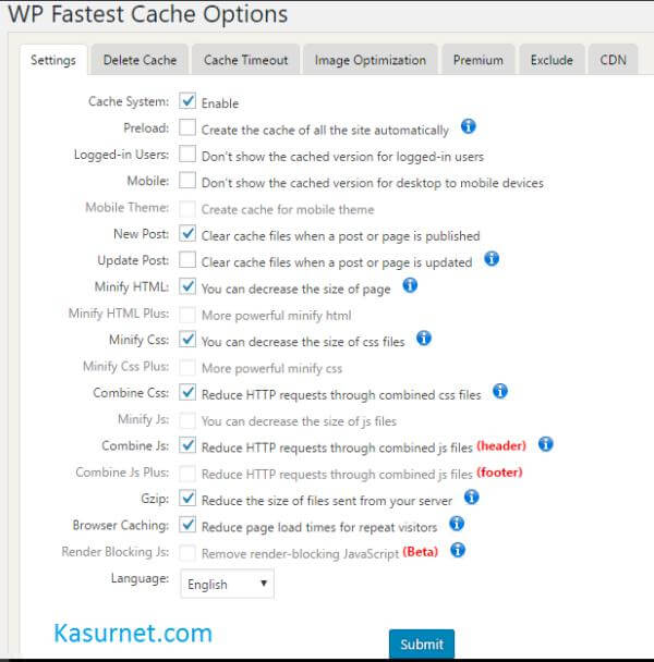 Cara Setting WP Fastest Cache Plugin WordPress