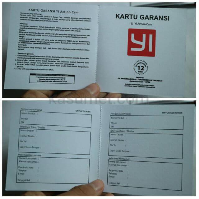 Kartu Garansi Xiaomi Yi Indonesia