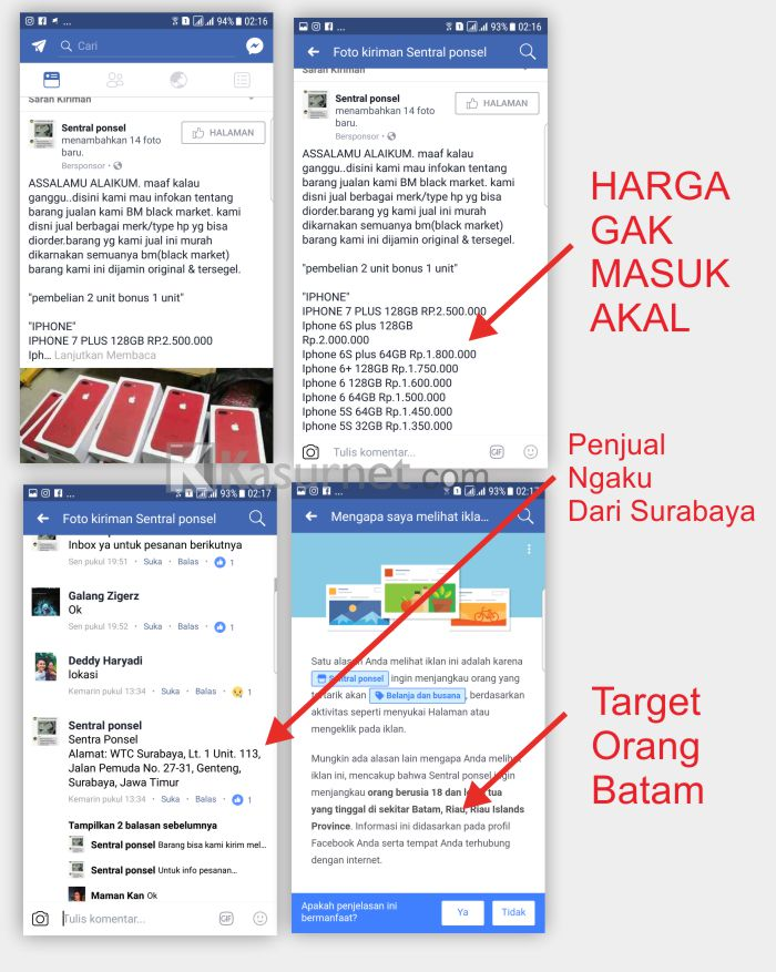 Penipuan Fanspage Postingan Facebook Ads Sentra Ponsel