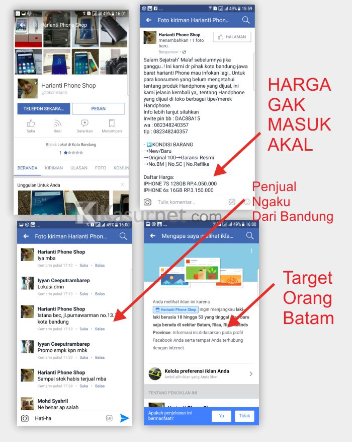 Penipuan Fanspage Postingan Facebook Ads Harianti Phone Shop